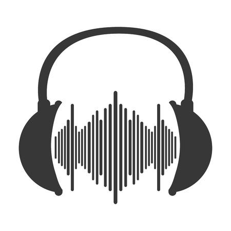 soundwave: flat design music soundwave in headphones icon vector illustration Illustration