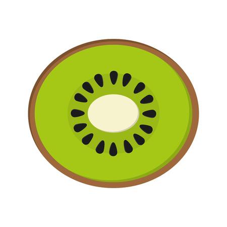isolated object: flat design kiwi half icon vector illustration