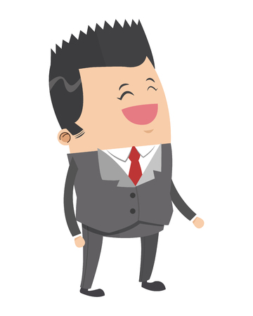 pointy: flat design cute businessman with pointy hair cartoon icon vector illustration Illustration