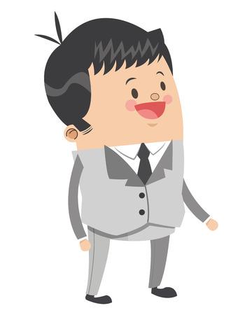 employee satisfaction: flat design cute businessman cartoon icon vector illustration