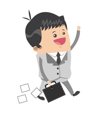 employee satisfaction: flat design cute businessman cartoon carrying briefcase icon vector illustration Illustration