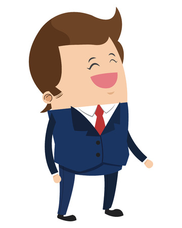 job satisfaction: flat design cute businessman cartoon icon vector illustration