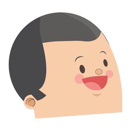 grey hair: flat design cute face of happy man grey hair icon vector illustration