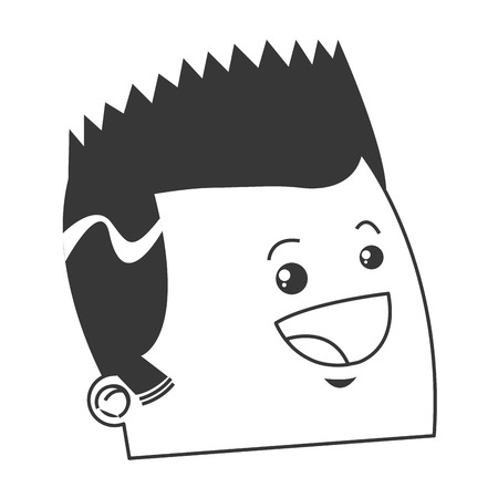 pointy: flat design cute face of happy man with pointy hair icon vector illustration Illustration