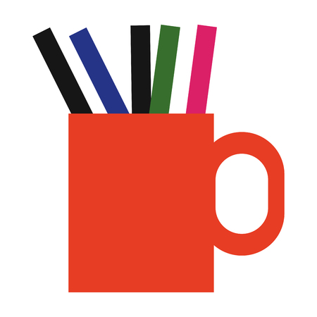 flat design pencils and pens in a cup icon vector illustration Illustration