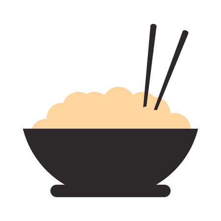 middle eastern food: flat design rice bowl icon vector illustration Illustration