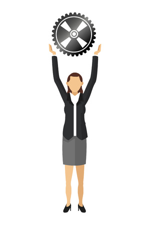 introduce: flat design business woman holding gear icon vector illustration