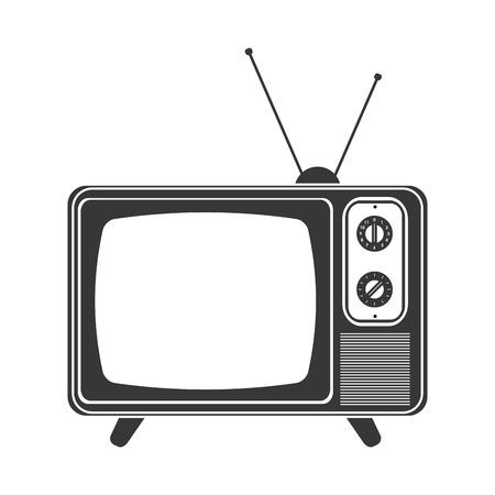 El diseño plano de televisión clásico retro con antena icono de ilustración vectorial