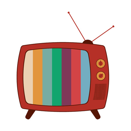 flat design retro classic tv with antenna and colored stripes on screen icon vector illustration Illustration