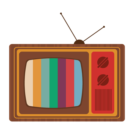 outmoded: flat design retro classic tv with antenna and colored stripes on screen icon vector illustration Illustration