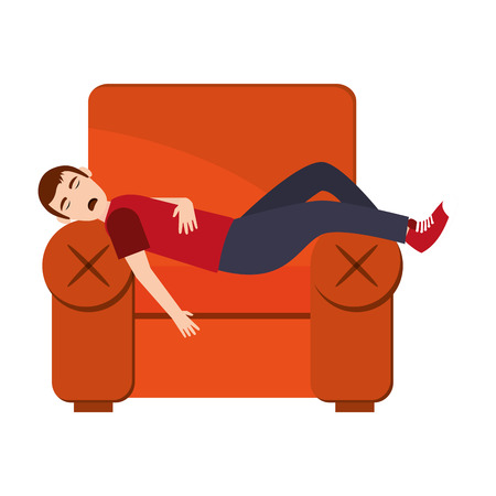 flat design person sleeping on sofa icon vector illustration Illustration