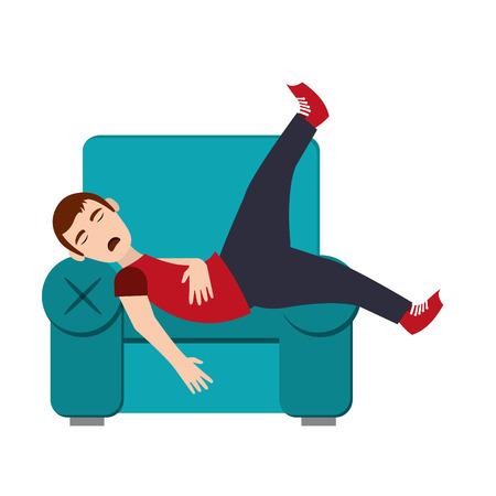 flat design person sleeping icon vector illustration Illustration