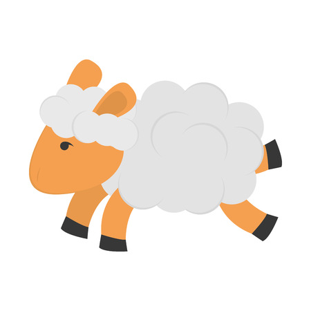 flat design single sheep icon vector illustration