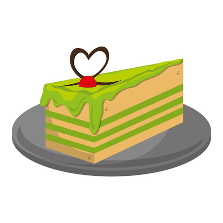 cheesecake: flat design cheesecake slice icon vector illustration