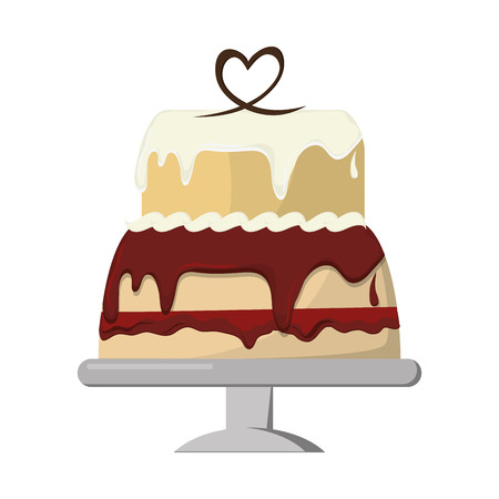 decorated cake: flat design decorated cake icon vector illustration