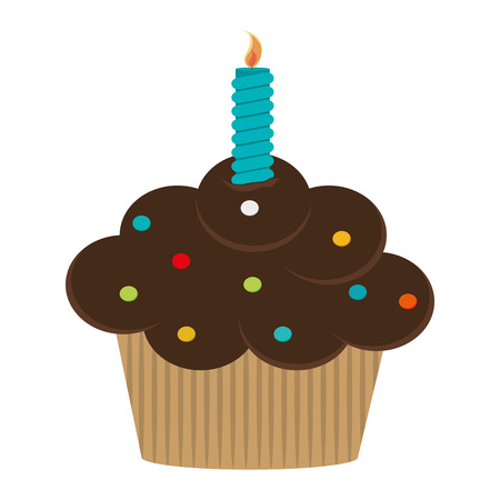 flat design single cupcake with candle icon vector illustration Illustration