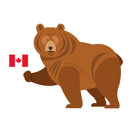 garra: diseño del oso pardo plana con bandera canadiense icónico Vectores