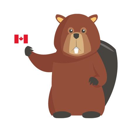 flat design single beaver with canadian flag icon illustration