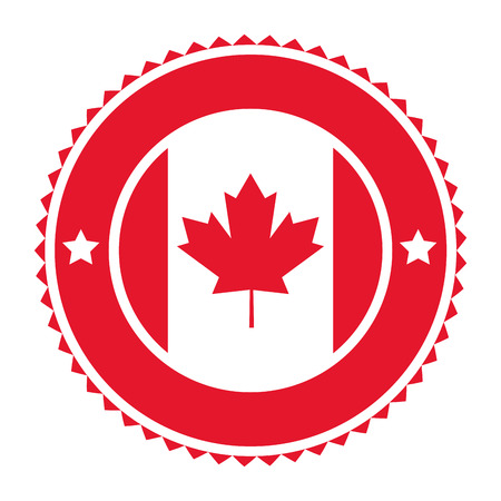 canadian: flat design canadian badge icon illustration Illustration