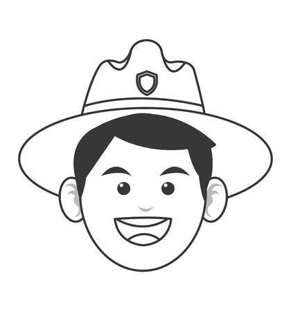 ranger: flat design park ranger icon illustration Illustration