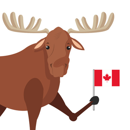 flat design single moose icon illustration Illustration
