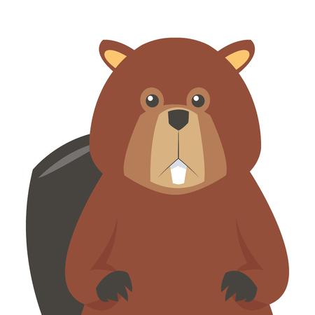 flat design single beaver icon illustration