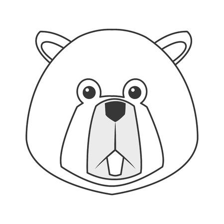flat design single beaver icon vector illustration Illustration