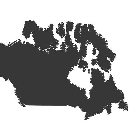 nations: flat design canada map silhouette icon vector illustration