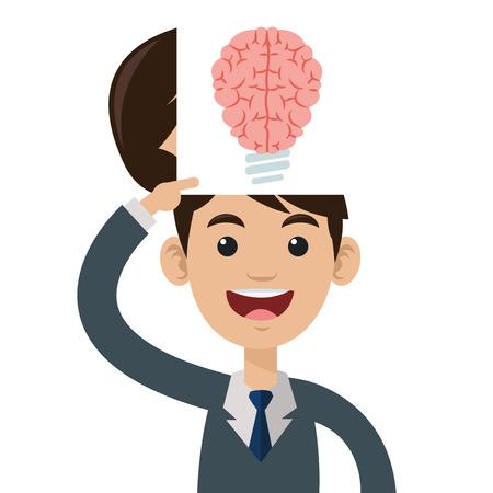 flat design lightbulb brain icon vector illustration
