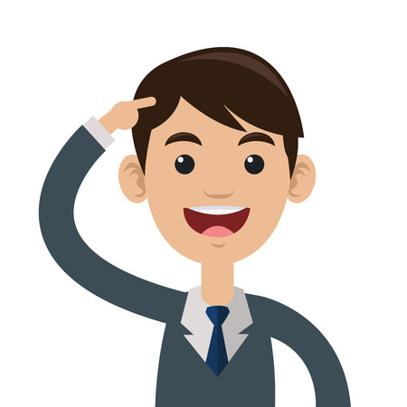 flat design man pointing head icon vector illustration