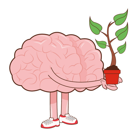 flat design human brain holding sprout icon vector illustration