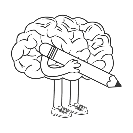 flat design human brain holding pencil icon vector illustration