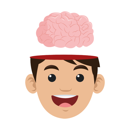 flat design person with brain outside head icon vector illustration
