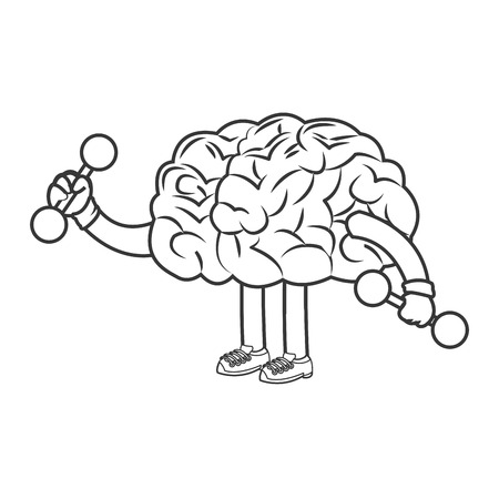 flat design human brain lifiting weights icon vector illustration