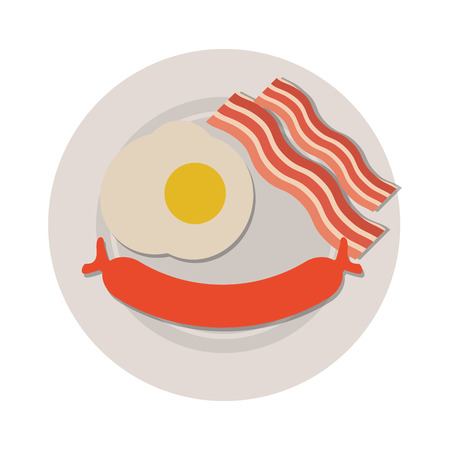 frankfurter: flat design breakfast with egg sausage and bacon icon vector illustration