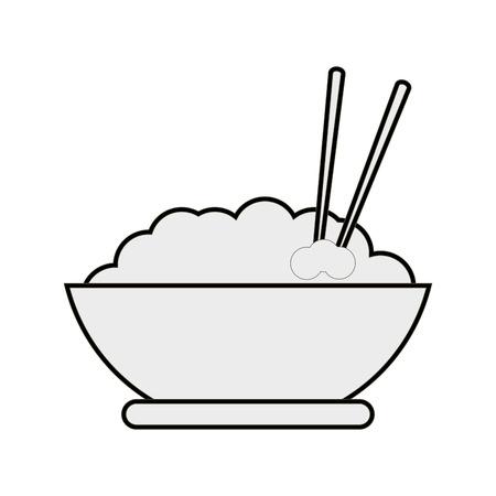 flat design rice bowl icon vector illustration Illustration