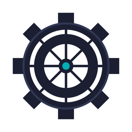 helm: flat design ship helm icon vector illustration