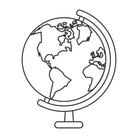 flat design earth map icon vector illustration Illustration