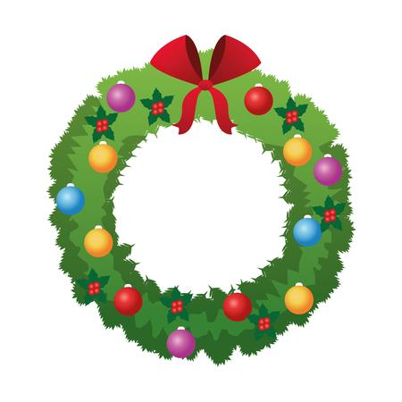 corona navidad: El diseño plano de la corona de Navidad Ilustración del vector del icono