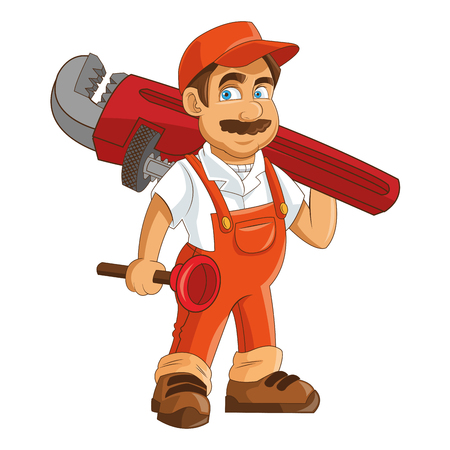 flat design construction or industrial worker holding pipe wrench and plunger icon vector illustration