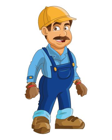 flat design construction or industrial worker icon vector illustration Vetores