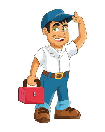 industrial worker: flat design construction or industrial worker holding toolbox icon vector illustration Illustration
