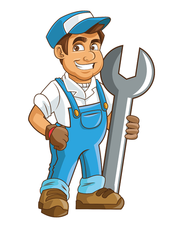 building site: flat design construction or industrial worker holding wrench icon vector illustration Illustration