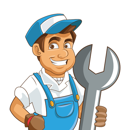 industrial worker: flat design construction or industrial worker holding wrench icon vector illustration Illustration