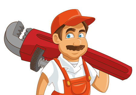 pipe wrench: flat design construction or industrial worker holding pipe wrench icon vector illustration