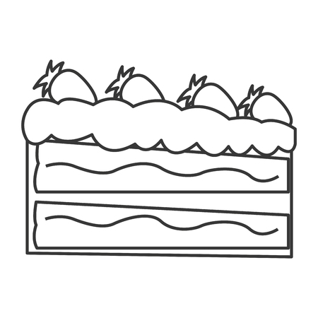 porcion de pastel: flat design piece of cake icon vector illustration Vectores