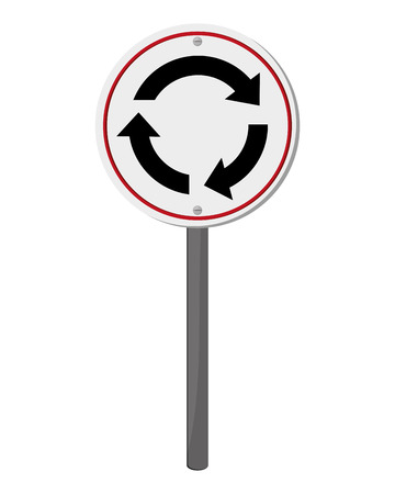 roundabout: flat design roundabout traffic sign icon vector illustration
