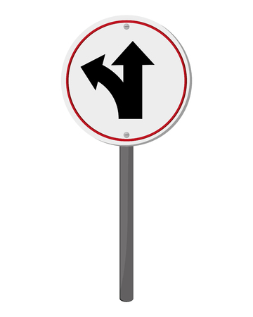bifurcation: flat design bifurcation traffic sign icon vector illustration