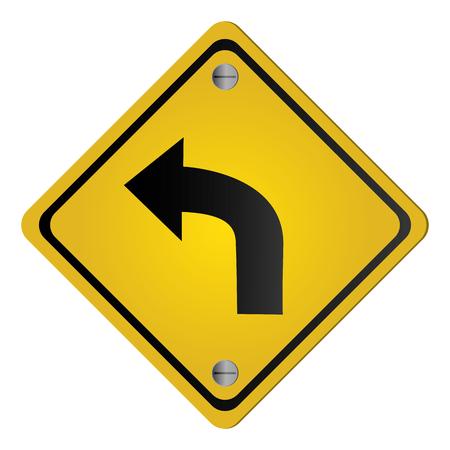 flat design left curve ahead traffic sign icon vector illustration