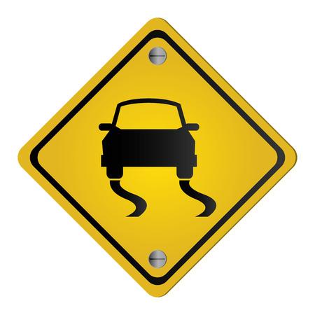 flat design slippery traffic sign icon vector illustration